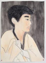 Myself - as a Ukioye Print - Watercolour, Chalk