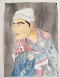 Myself - as a Samurai - Watercolour, Chalk
